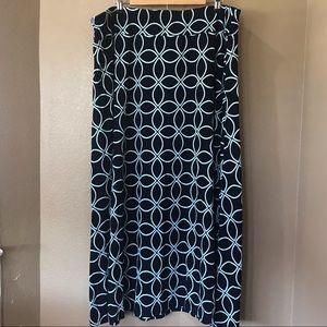TALBOTS 2X Navy Blue Geo Floral Stretch Maxi Skirt